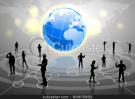 Modern social media amd communication stock photo, Human figures connected together in communication network by Sergey Nivens
