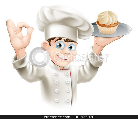 Baker with cupcake stock vector clipart, Illustration of baker holding a tray with a cupcake on it  by Christos Georghiou
