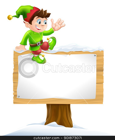 Elf on Snowy Sign stock vector clipart, A cute Christmas elf on sitting on a snowy sign and waving by Christos Georghiou
