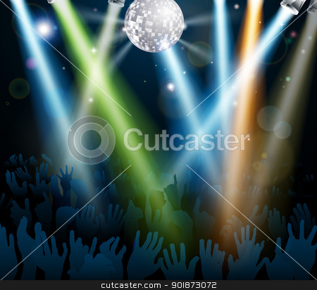 Mirror ball dance floor crowd stock vector clipart, Crowd dancing at a concert or on a disco nightclub dance floor with hands up under a mirror ball with lights  by Christos Georghiou