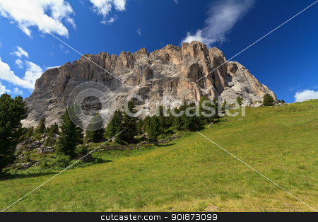 Langkofel - Sassolungo mount stock photo, summer view of Langkofel - Sassolungo mountain from Sella pass, Trentino Alto Adige, Italy by ANTONIO SCARPI