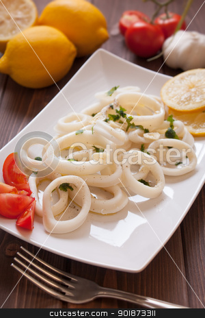 Squid rings stock photo, Dish of squid rings with garlic and parsley by Giordano Aita