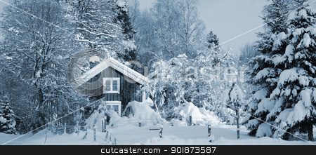 old cottage draped in snowy winter stock photo, small old cottage, wintery snow, winter landscape from sweden, ice blue toning concept by lagereek