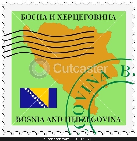 stamp with map and flag of Bosnia and Herzegovina stock vector clipart, Image of stamp with map and flag of Bosnia and Herzegovina by Oleksandr Kovalenko