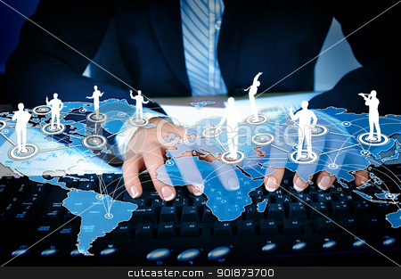 Computer keyboard and social media images stock photo, Computer keyboard and multiple social media images by Sergey Nivens