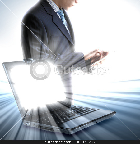 Image of notebook with shining screen  stock photo, Image of notebook with shining screen and light by Sergey Nivens