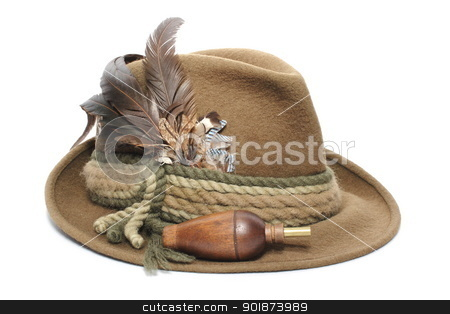 hunting hat and game call stock photo, hunting gear - old traditional wool hat and game call for foxes by coroiu octavian