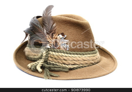 hunting hat over white stock photo, traditional german hunting hat over white background by coroiu octavian