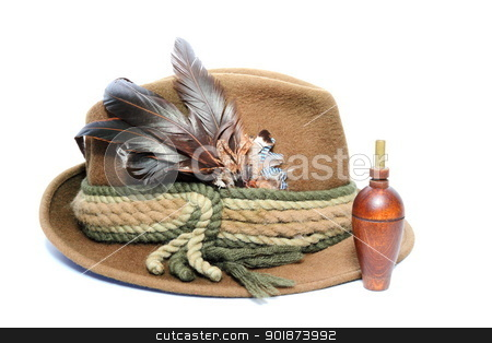 old hunting hat and game call stock photo, vintage hunting hat and wooden game call for foxes and hazel grouse by coroiu octavian