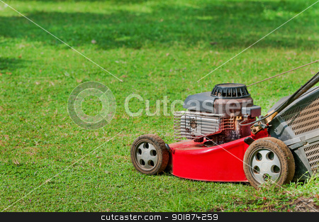 Lawn mower on green grass stock photo, Red lawn mower on green grass in sunny day by Iryna Rasko