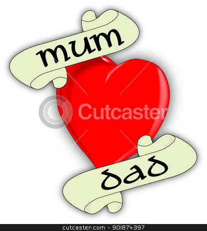 Mum and Dad stock vector clipart, A tattoo style image of the 'Love Mum and Dad' logo. by Kotto