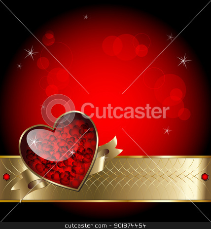 Luxurious vector romantic background stock vector clipart, Illustration of luxurious template background with heart, gold elements and stars by Vladimir Repka