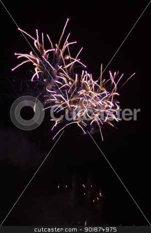 Firework bursting. stock photo, Colourful firework show. by Piotr Skubisz