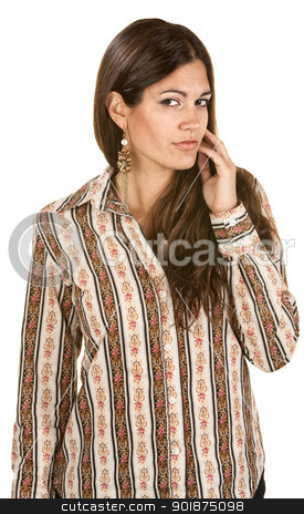Woman With Hand Near Face stock photo, Beautiful Hispanic woman with hand near face on isolated background by Scott Griessel