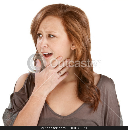 Woman with Hand on Chin stock photo, Awestruck woman with hand on chin over white by Scott Griessel