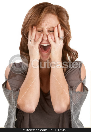 Screaming Lady Covering Her Face stock photo, Frantic woman screaming with hands on face by Scott Griessel