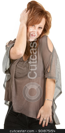 Sexy Woman Posing stock photo, Sexy Caucasian with red hair over white background by Scott Griessel