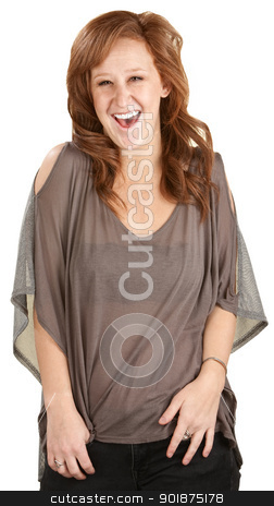 Laughing Woman stock photo, Laughing female with red hair over white background by Scott Griessel