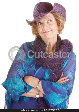 Grinning Senior Lady stock photo, Cheerful mature woman in hat with folded arms by Scott Griessel