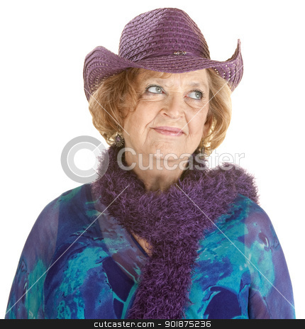 Cheerful Mature Lady stock photo, Grinning European senior woman in purple hat by Scott Griessel