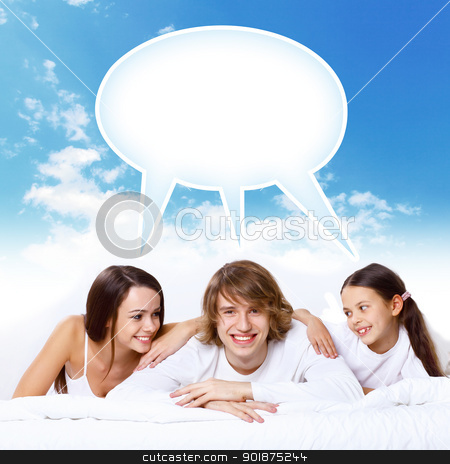 Dreams of young family stock photo, Young family with a daughter and house by Sergey Nivens