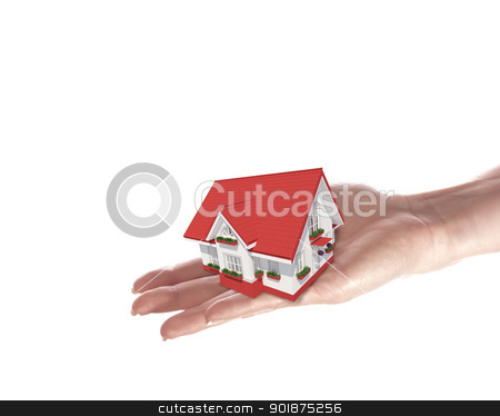 The house in human hands stock photo, The house with colour roof in human hands by Sergey Nivens