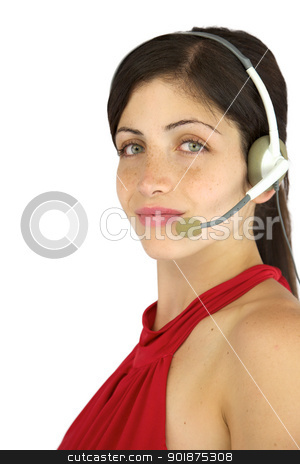 Happy beautiful call center girl smiling stock photo, Gorgeous female model with headset working smiling with freckles and green eyes by federico marsicano