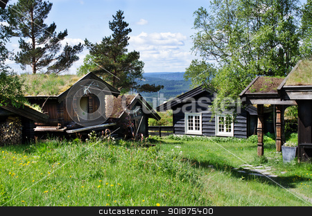 Typical Norwegian houses in the village stock photo, Typical Norwegian houses in  Oslo, Norway by Nanisimova