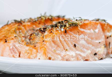 Close up grilled salmon steaks stock photo, Grilled salmon steaks close up by Nanisimova