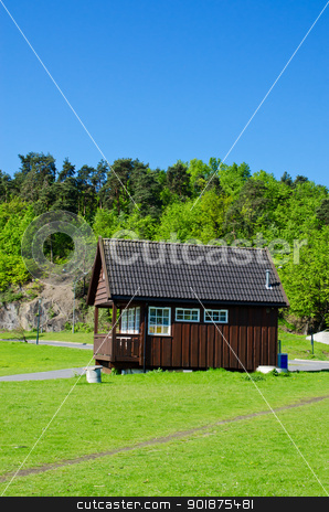 Typical Norwegian house stock photo, Typical Norwegian house on meadow by Nanisimova