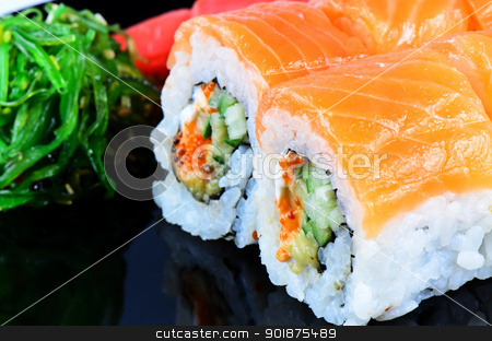Japanese food roll made of salmon stock photo, Japanese food roll made of salmon close up by Nanisimova