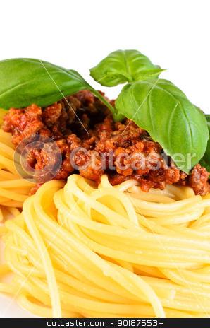 Spaghetti bolognese with leaf basil  stock photo, Spaghetti bolognese with leaf basil close up by Nanisimova