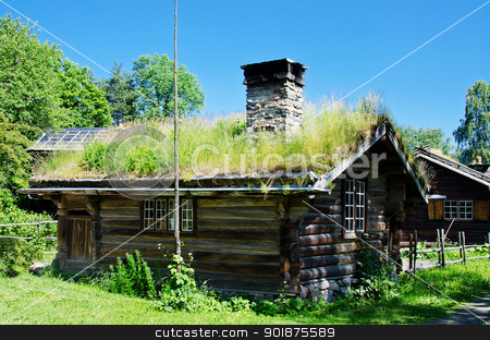 Ancient 18th century Norwegian houses stock photo, Ancient  Norwegian houses by Nanisimova