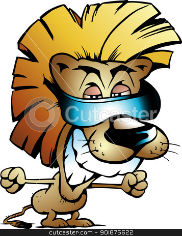 Hand-drawn Vector illustration of an Cool Lion King stock vector clipart, Hand-drawn Vector illustration of an Cool Lion King by DrawShop - Poul Carlsen