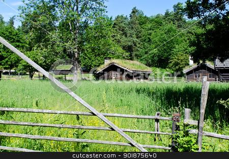 Norwegian ancient  houses stock photo, Ancient 18th century Norwegian houses by Nanisimova