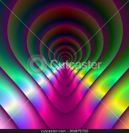 Keyhole Tunnel stock photo, Computer generated image with an abstract keyhole tunnel design in purple, green, blue and yellow by Colin Forrest