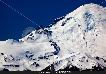 Snowy Mount Rainier Close Up with Crater stock photo, Mount Rainier Snow Mountain Glacier Close Up with Crater from Crystal Mountain by William Perry