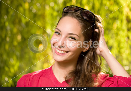 Beautiful friendly young brunette. stock photo, Outdoors portrait of a beautiful friendly young brunette. by exvivo
