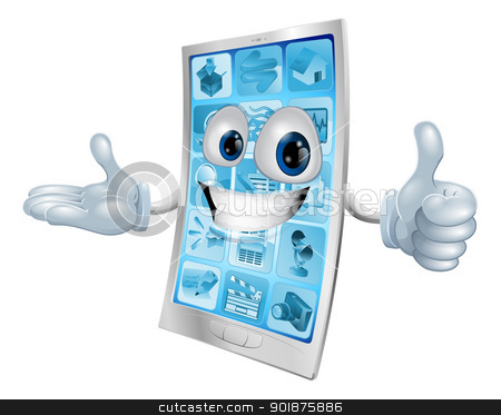 Mobile phone character stock vector clipart, Metallic mobile phone man doing a thumbs up and grinning positively  by Christos Georghiou