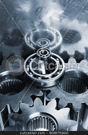 gear wheels mirrored in titanium stock photo, gear wheels and bearings mirrored in titanium background by lagereek