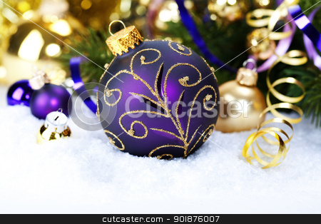 Christmas composition stock photo, Christmas ball decoration with branch of Christmas tree by klenova