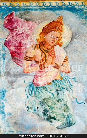 Buddhism angel  - deva stock photo, Traditional Sri Lanka style art with the buddhism angel - deva image on a wall by Iryna Rasko
