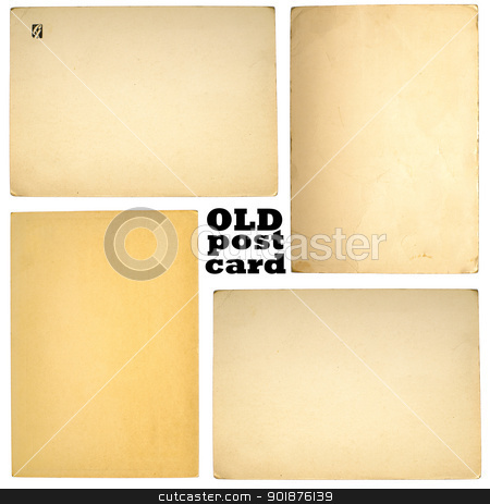Old posrcards set stock photo, Old paper sheets isolated on white background by nvelichko