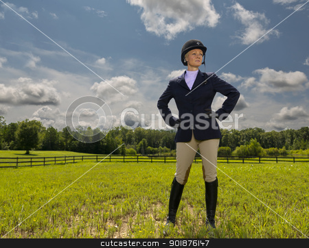Equestrian Model stock photo, A blonde equestrian model poses in an outdoor environment by Walter Arce