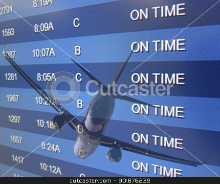On Time stock photo, An airport On Time board listing arrivals and departures by Walter Arce