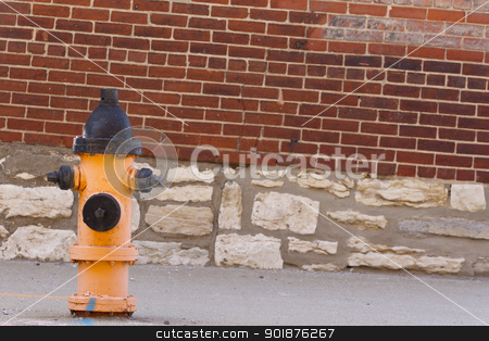 Fire Hydrant stock photo, Typical fire hydrant against a brick wall on a city street by Walter Arce