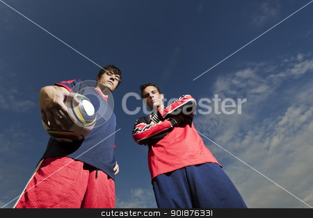 Soccer Players stock photo, Two soccer players posing before a game by Walter Arce