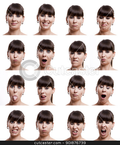 Multiple expressions stock photo, Multiple close-up portraits of the same woman in different emotions and expressions by ikostudio