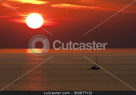 Sunset and Boat, Alanya, Turkey stock photo, Sunset and Boat, Alanya, Turkey by Kevin Hellon
