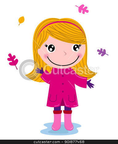 Little cute autumn girl isolated on white stock vector clipart, Cute girl in pink with autumn leaves. Vector Illustration by BEEANDGLOW